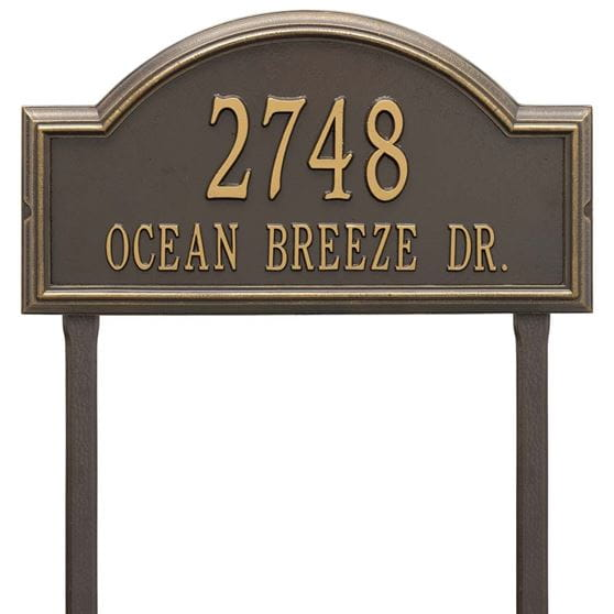 Rectangular with circular top bump lawn address plaque with house number and street, bronze with gold lettering and border