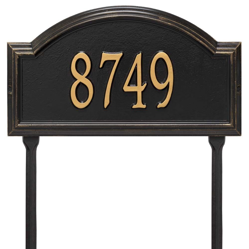 Rectangular with circular top bump lawn address plaque with house number, black with gold lettering and border