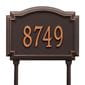 Rectangular with circular top bump lawn address plaque with house number, oil rubbed bronze lettering and border