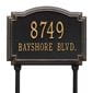 Rectangular with circular top bump lawn address plaque with house number and street, black with gold lettering and border