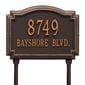 Rectangular with circular top bump lawn address plaque with house number and street, oil rubbed bronze lettering and border