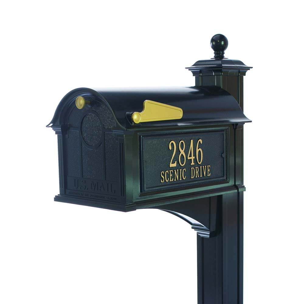 Balmoral black mailbox with gold address on side with gold flag and handle