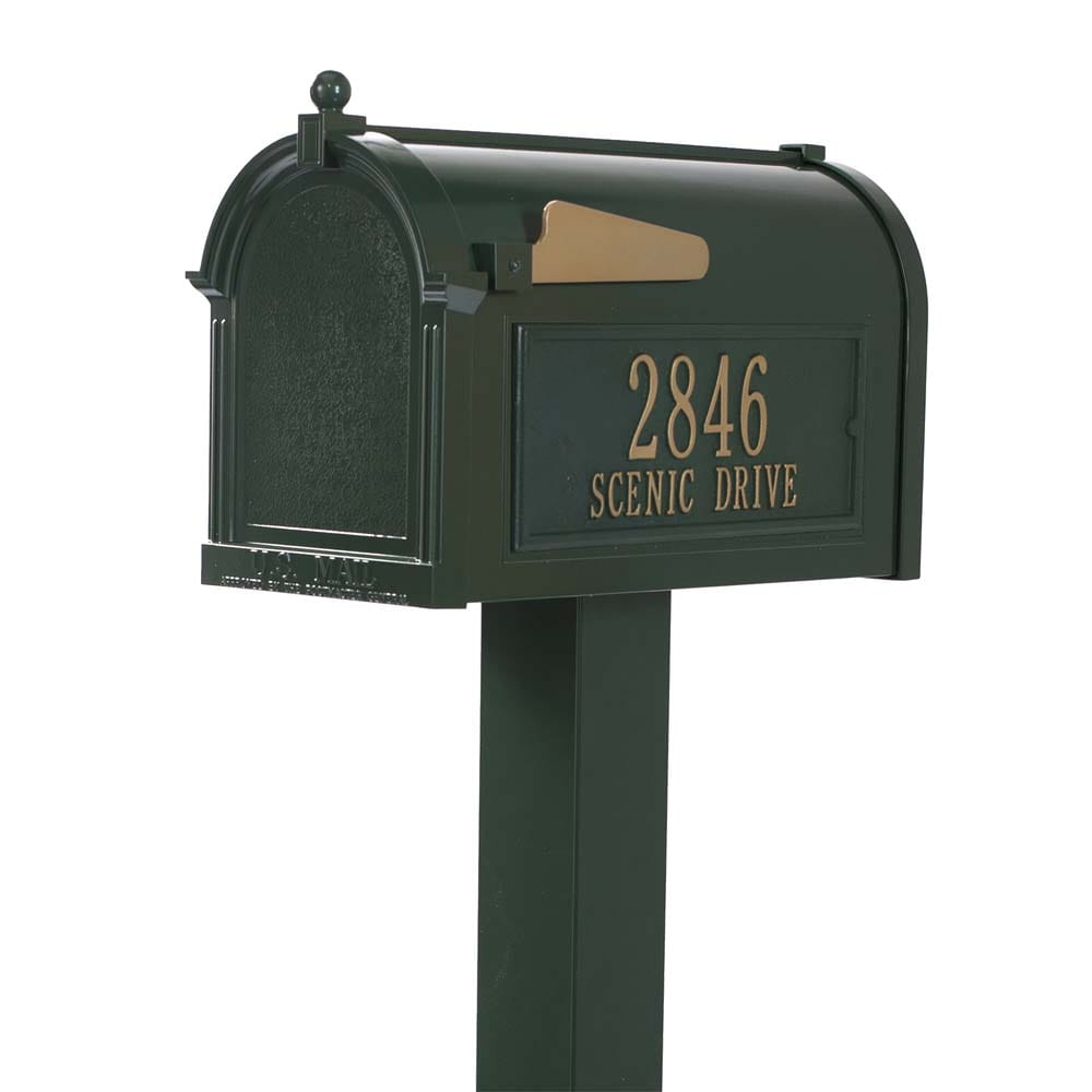 Premium green mailbox with latch and gold address on side with gold flag on top of post