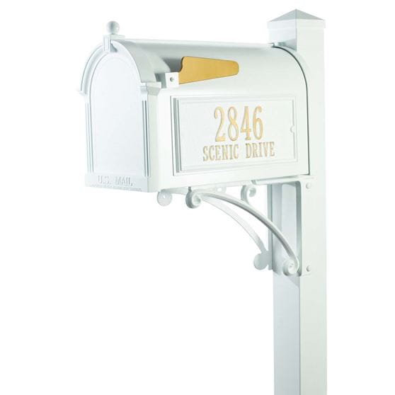 Superior white mailbox with latch and gold address on side with gold flag
