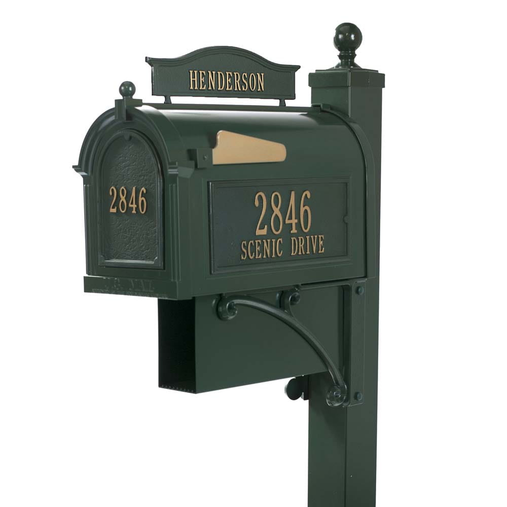 Ultimate green mailbox with latch and gold address on side and front with gold flag, newspaper box and family name tag on top.