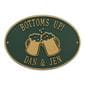 Green and gold bottoms up beer mug plaque