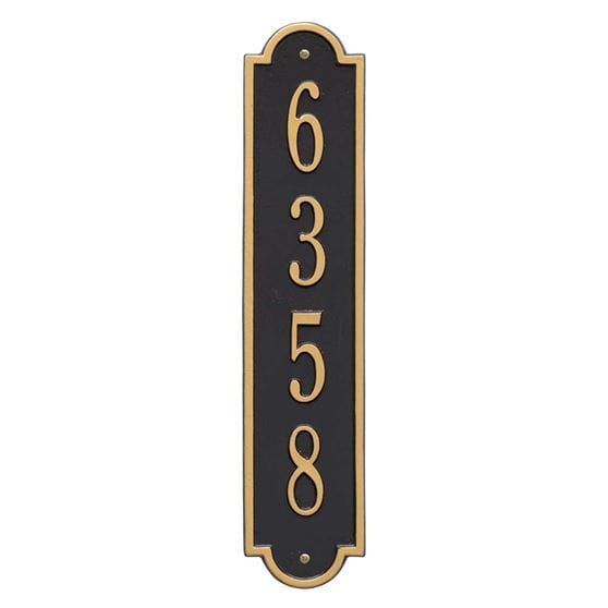 Richmond vertical wall address plaque, black and gold