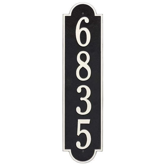 Vertical wall address plaque, black and white