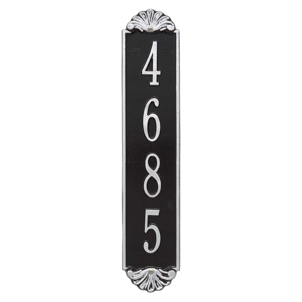 Shell vertical wall address plaque, black and silver