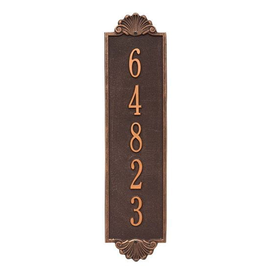 Shell vertical wall address plaque, oil rubbed bronze