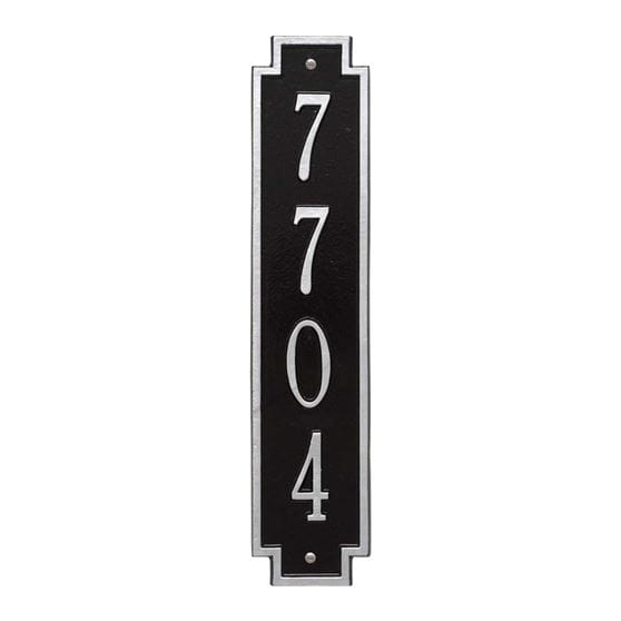 Windsor vertical wall address plaque, black and silver