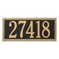 Horizontal rectangle wall address plaque, black with gold lettering and border