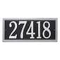 Horizontal rectangle wall address plaque, black with silver lettering and border