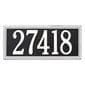 Horizontal rectangle wall address plaque, black with white lettering and border