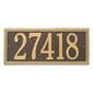 Horizontal rectangle wall address plaque, bronze with gold lettering and border