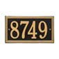 Horizontal rectangle wall address plaque house number, black with gold lettering and border