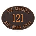 Oval wall address plaque house number, street and family name, oil rubbed bronze lettering and border