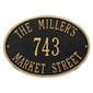 Oval wall address plaque house number, street and family name, black with gold lettering and border