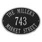 Oval wall address plaque house number, street and family name, black with silver lettering and border