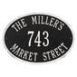 Oval wall address plaque house number, street and family name, black with white lettering and border