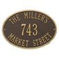 Oval wall address plaque house number, street and family name, bronze with gold lettering and border