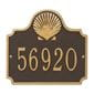 Horizontal  rectangle wall address plaque with shell bump out on top, bronze and gold