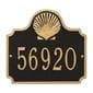 Horizontal  rectangle wall address plaque with shell bump out on top, black and gold