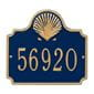 Horizontal  rectangle wall address plaque with shell bump out on top, blue and gold