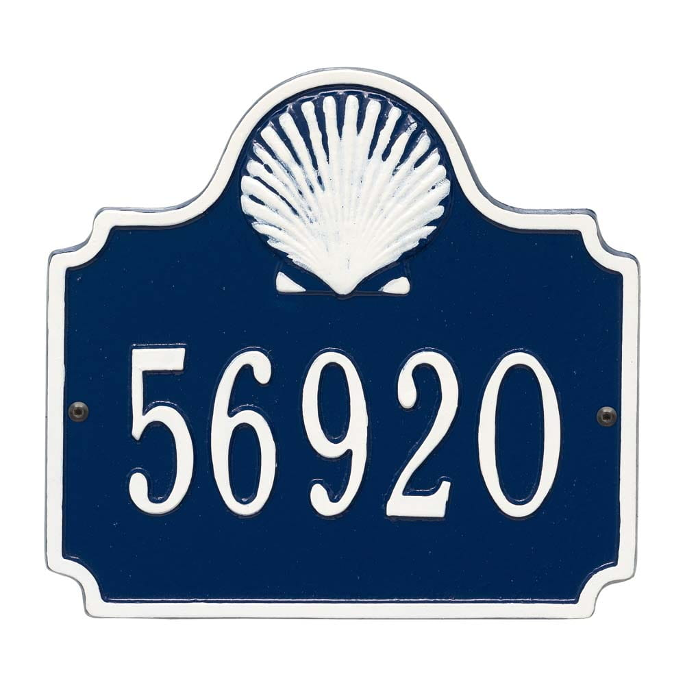 Horizontal  rectangle wall address plaque with shell bump out on top, blue and white