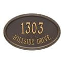 Oval wall address plaque with house number and street, bronze and gold
