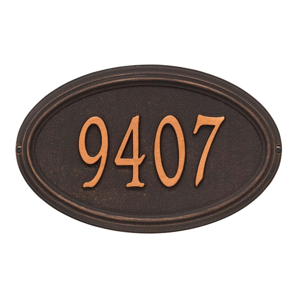 Oval wall address plaque with house number, oil rubbed bronze