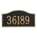 Rectangle with small round bump out on top wall address plaque, black and gold