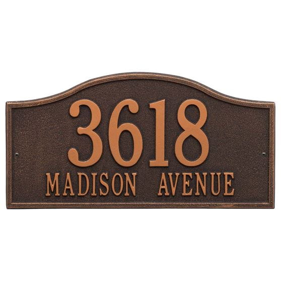 Rectangle with small round bump out on top wall address plaque, oil rubbed bronze