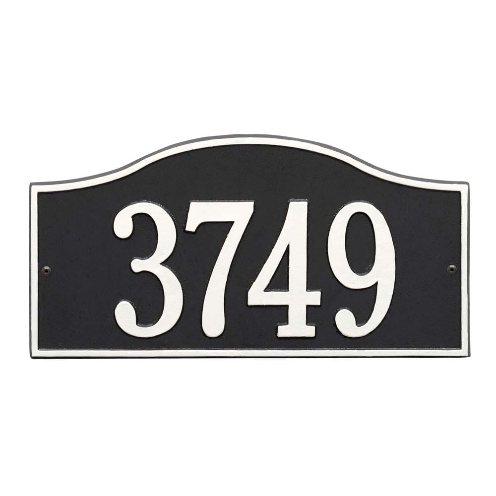Rectangle with small round bump out on top wall address plaque, black and white