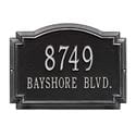 Rectangle with small round bump out on top wall address plaque, black and silver