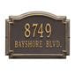 Rectangle with small round bump out on top wall address plaque, bronze and gold