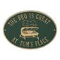 Personalized grill plaque, green and gold