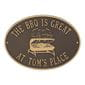 Personalized grill plaque, bronze and gold