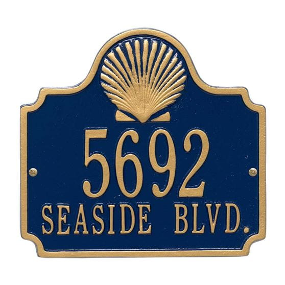Shell wall address plaque, blue and gold