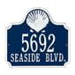Shell wall address plaque, blue and white