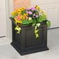 square ferndale planter outside with flowers planted