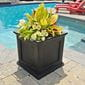 square ferndale planter box next to pool with vibrant green plants
