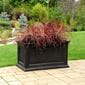 red bushy plants coming out of the black ferndale rectangular planter outside.