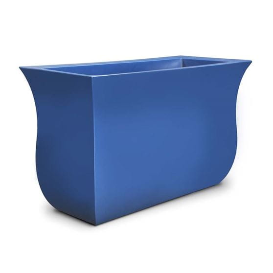 empty bright blue hillsdale rectanglular planter.
