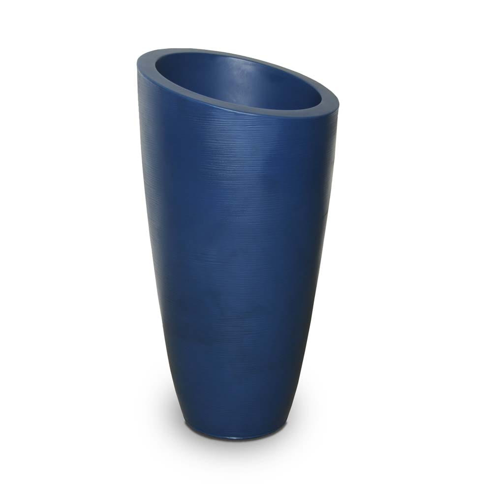 empty moderno tall blue planter.