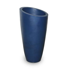 tall round blue plastic planter with slanted oval opening