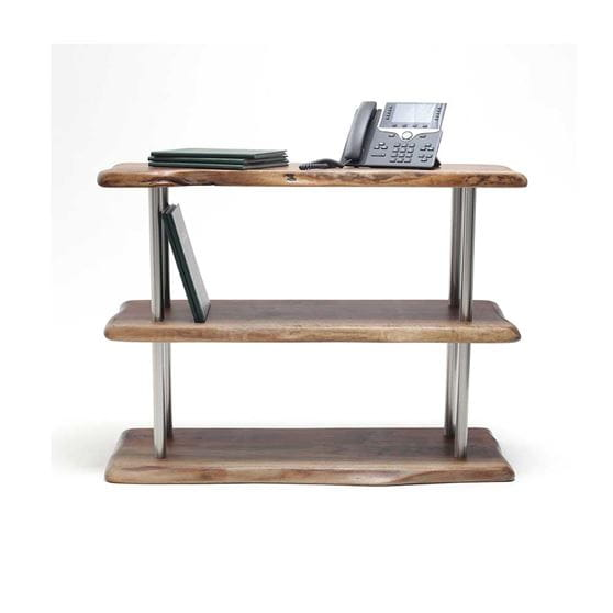 front view of live edge and chrome 3 tier bookshelf with decor on white background
