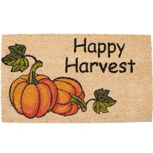 beige coir doomat featuring 2 pumpkins and the words Happy Harvest