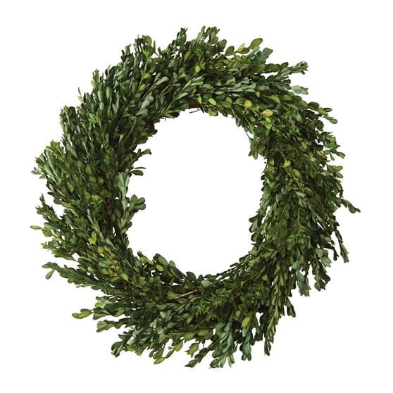 Green boxwood wreath.