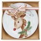 Reindeer plate in box packaging with string.